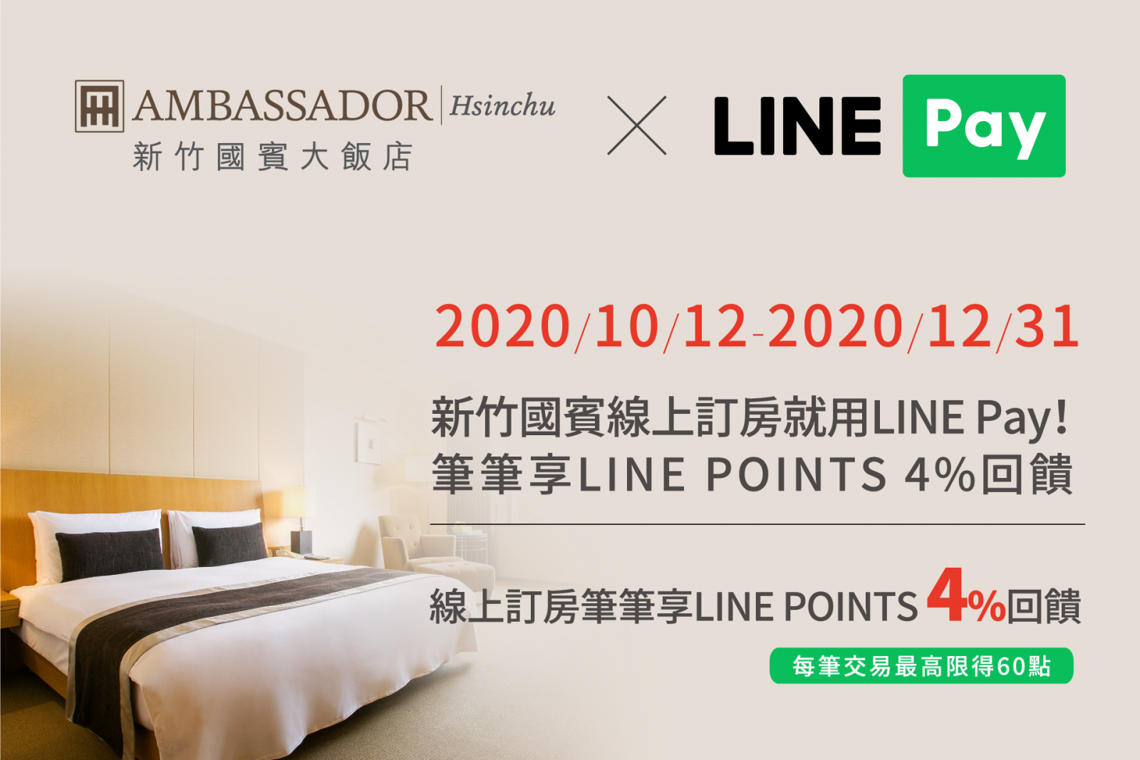 線上訂房刷LINE Pay 享LINE POINTS 4%回饋