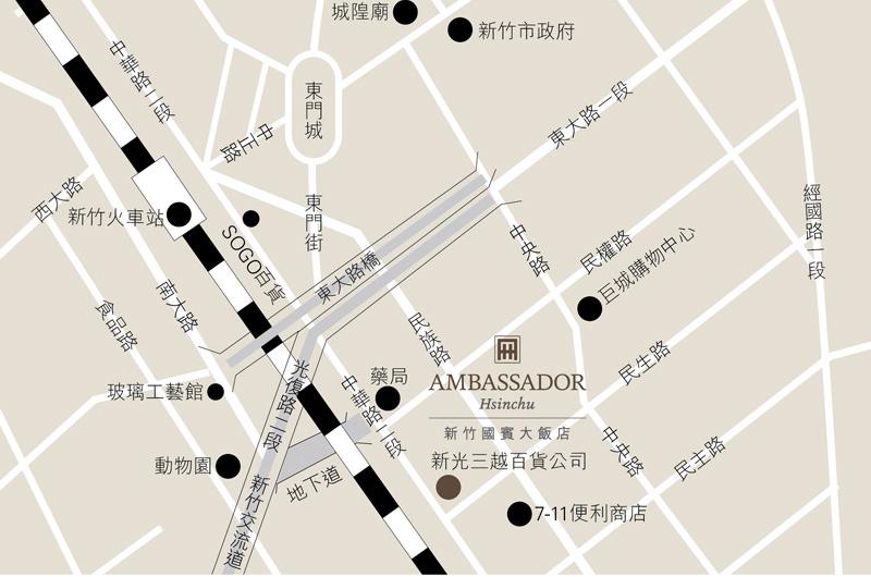 Ambassador-Hotel-Hsinchu-Location-Map