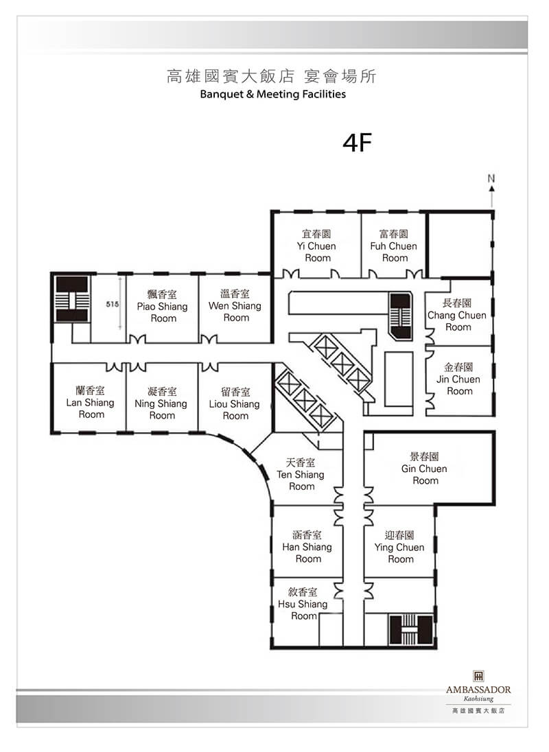 Ambassador Hotel Kaohsiung Events Floor Plan Level 4