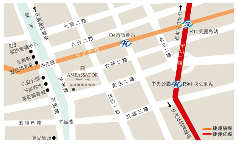 Ambassador-Hotel-Kaohsiung-Location-Map
