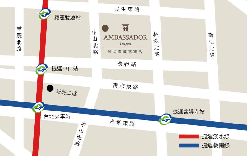 Ambassador-Hotel-Taipei-Location-Map